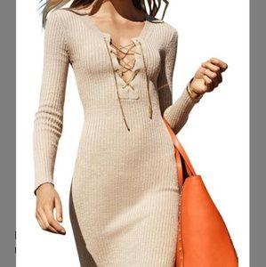 Michael Michael Kors lace up rib knit dress khaki